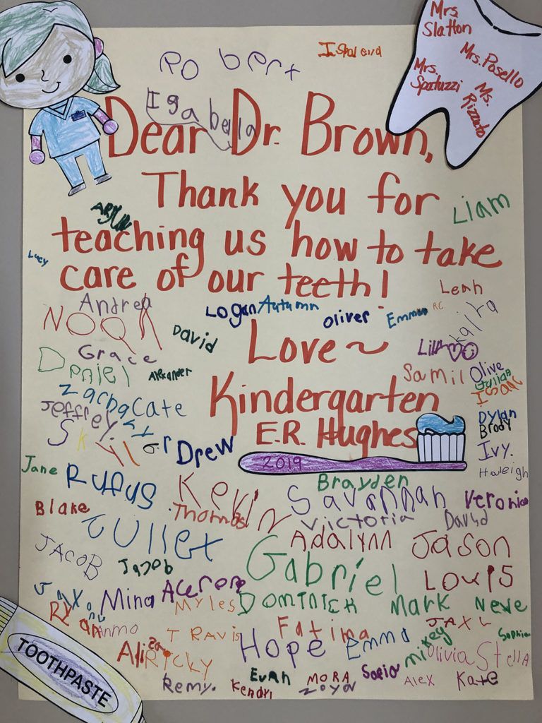 A thank you for Dr. Erin Brown of Neighborhood Family Dentistry at Hughes Elementary in New Hartford, NY
